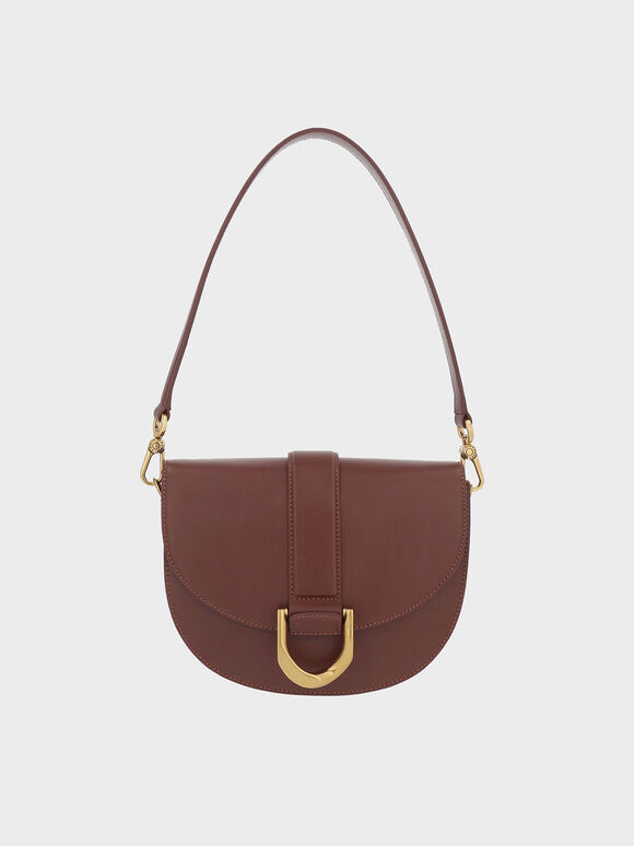 Gabine Leather Saddle Bag, Brown, hi-res