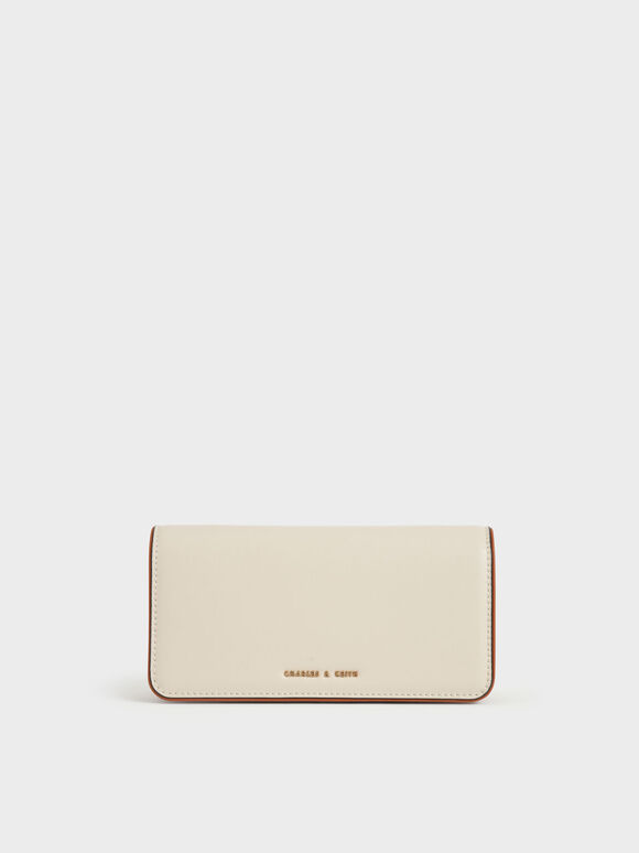 Push-Lock Long Wallet, Cream, hi-res