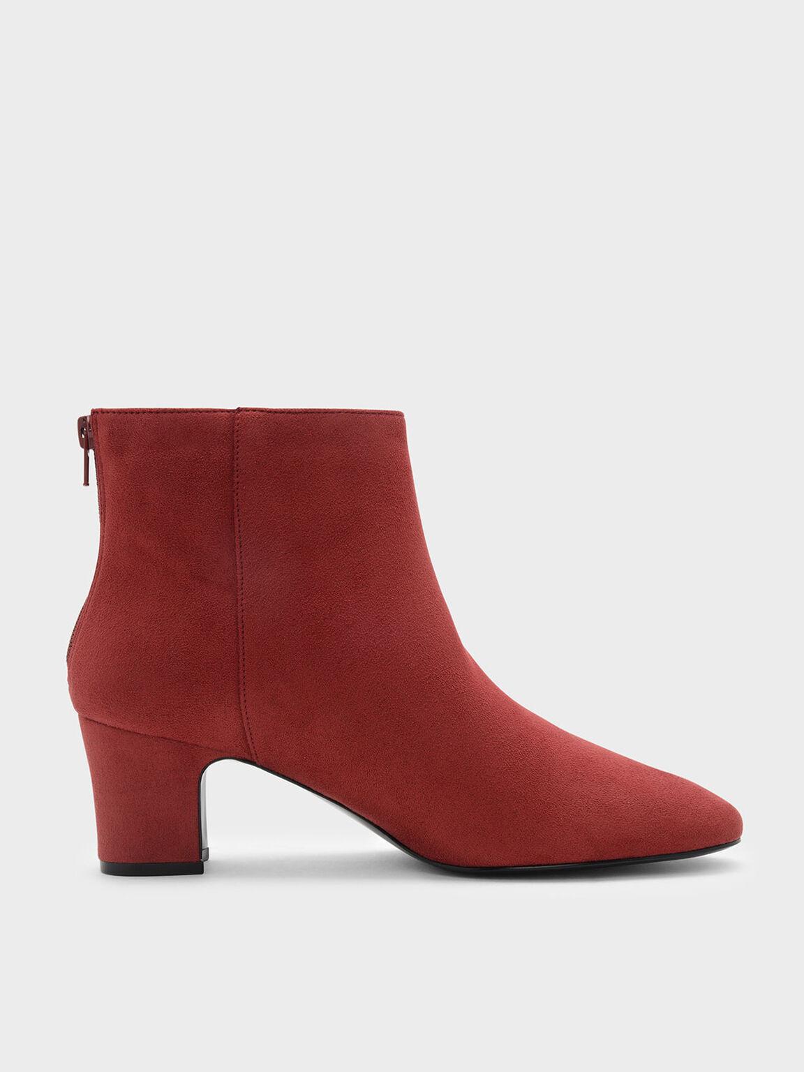 Classic Block Heel Boots, Red, hi-res