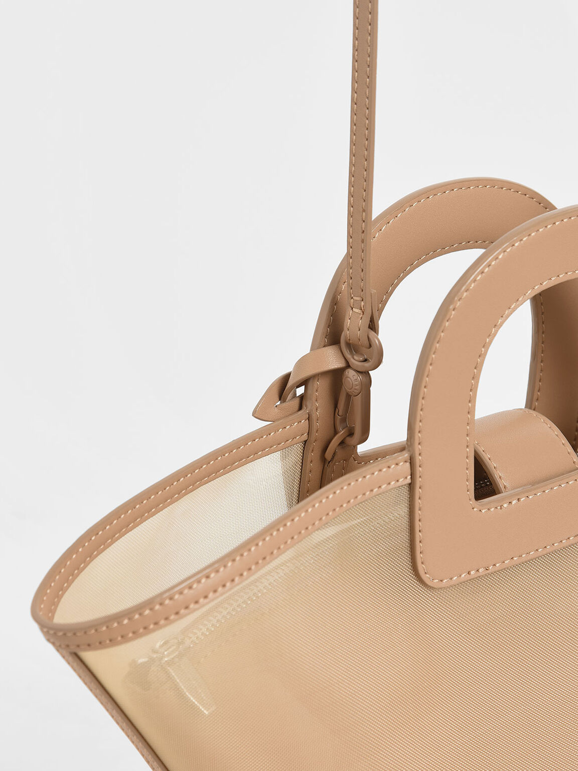 Mesh Trapeze Bag, Beige, hi-res