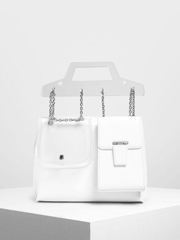 Chain Link Triple-Compartment Bag, White, hi-res