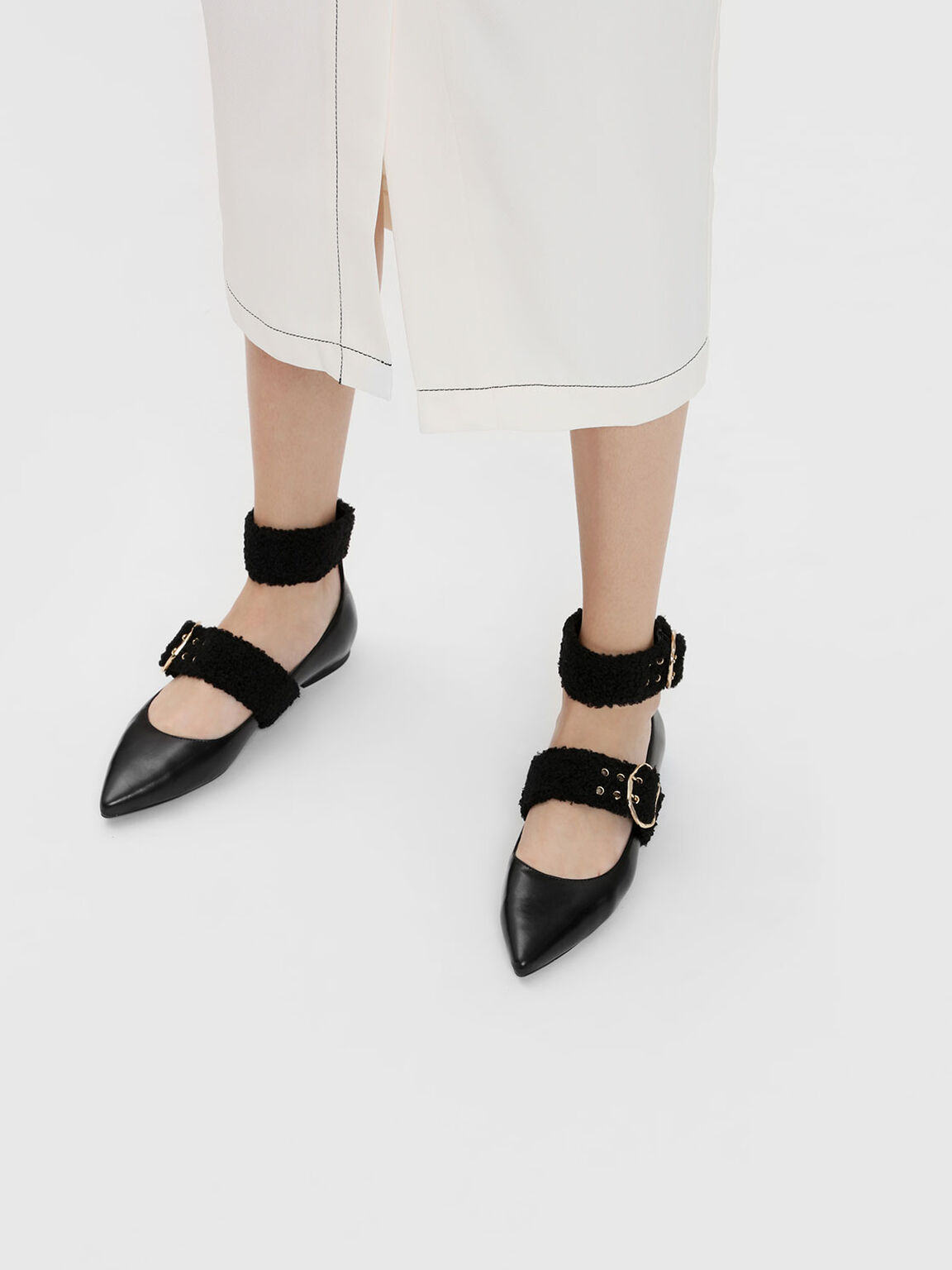 Ankle Strap Mary Jane Flats, Black, hi-res