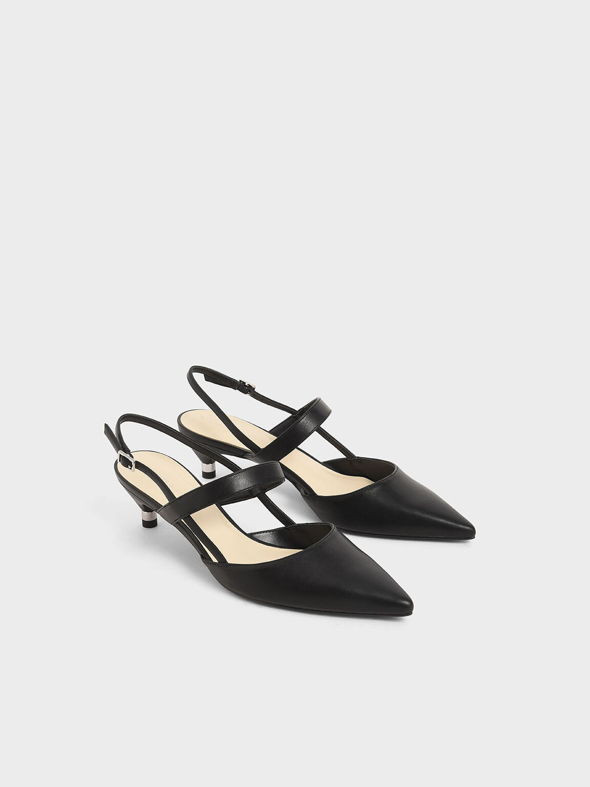 Slingback Kitten Heel Pumps, Black, hi-res