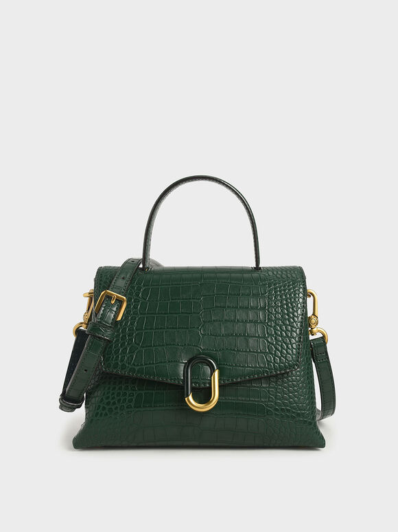 Croc-Effect Stone-Embellished Handbag, Green, hi-res