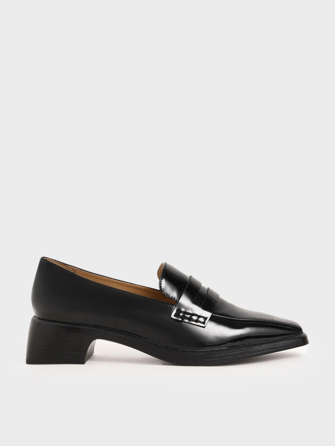 Patent Loafers, Black, hi-res
