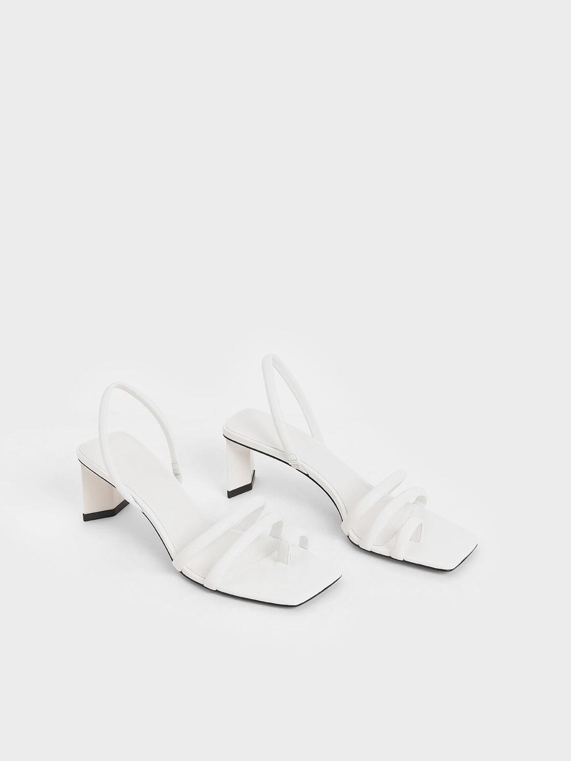 Toe Loop Strappy Slingback Heels, White, hi-res