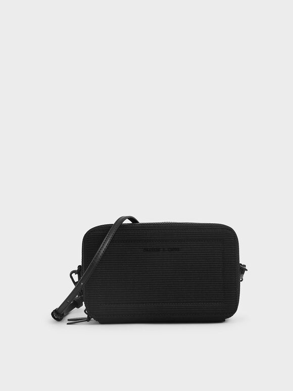 Grosgrain Stitch Trim Long Wallet, Black, hi-res