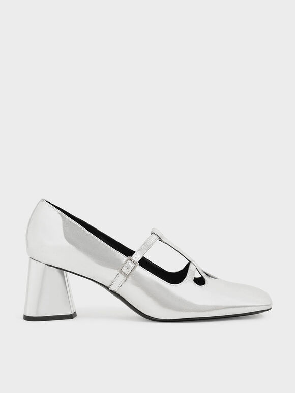 Metallic Double Strap Mary Jane Pumps, Silver, hi-res