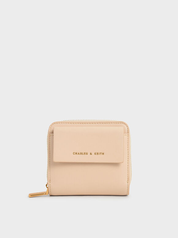 Front Flap Zip-Around Mini Wallet, Nude, hi-res