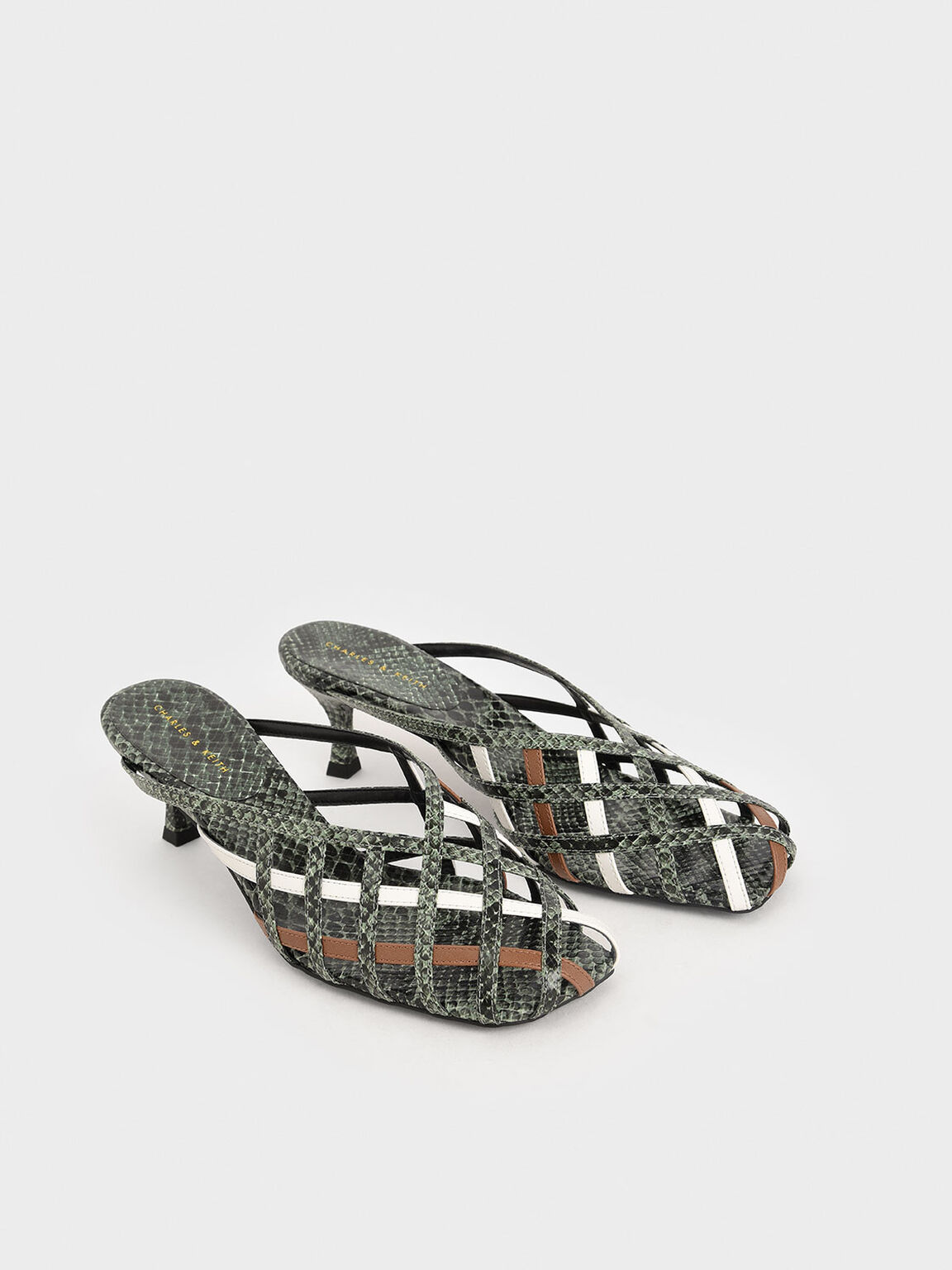 Snake Print Square Toe Caged Mules, Multi, hi-res