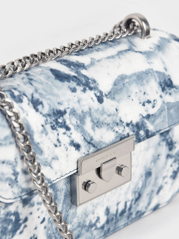 Printed Push-Lock Crossbody Bag, Multi, hi-res