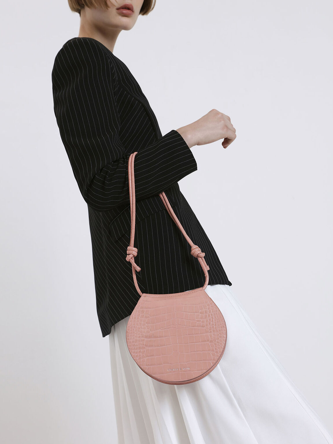 Semi Circle Croc-Effect Crossbody Bag, Pink, hi-res
