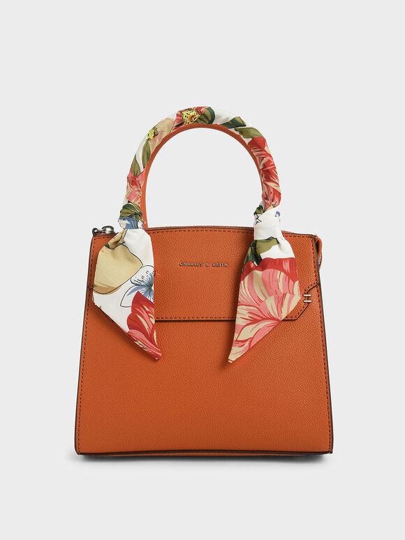 Scarf-Wrapped Top Handle Bag, Orange, hi-res