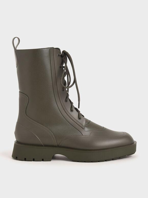 Lace-Up Calf Boots, Military Green, hi-res