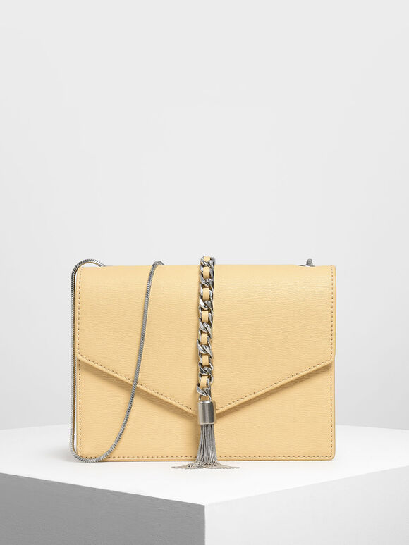 Tassel Shoulder Bag, Yellow, hi-res