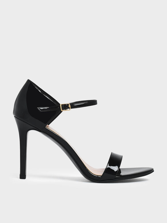 Patent Ankle Strap Stiletto Heels, Black, hi-res