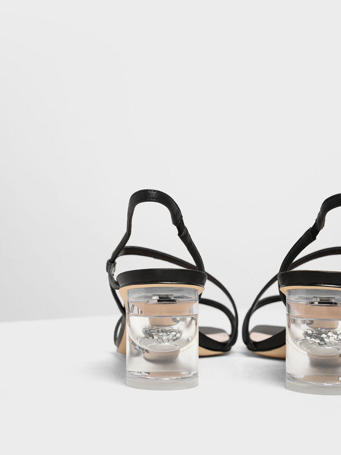 Asymmetric Strap Lucite Heel Sandals, Black, hi-res