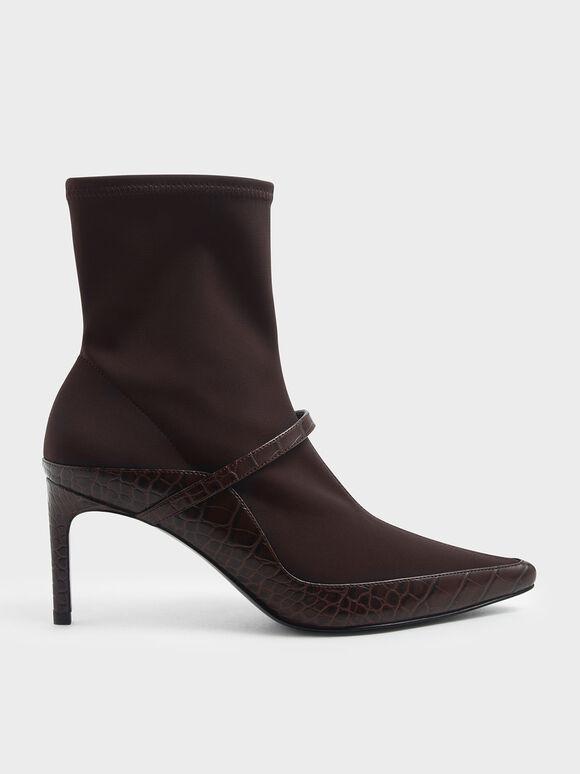 Croc-Effect Pointed Toe Sock Boots, Burgundy, hi-res