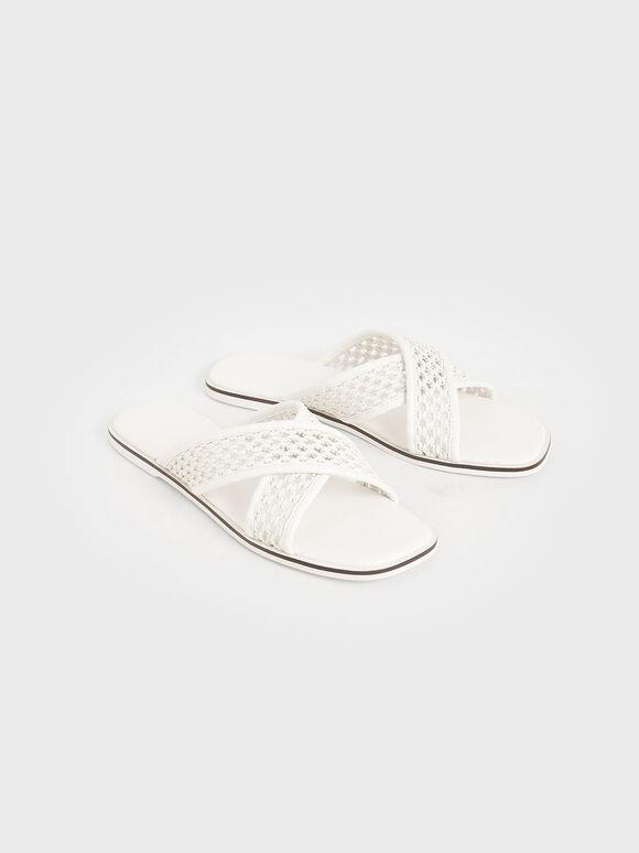 Weave Detail Crossover Slides, White, hi-res