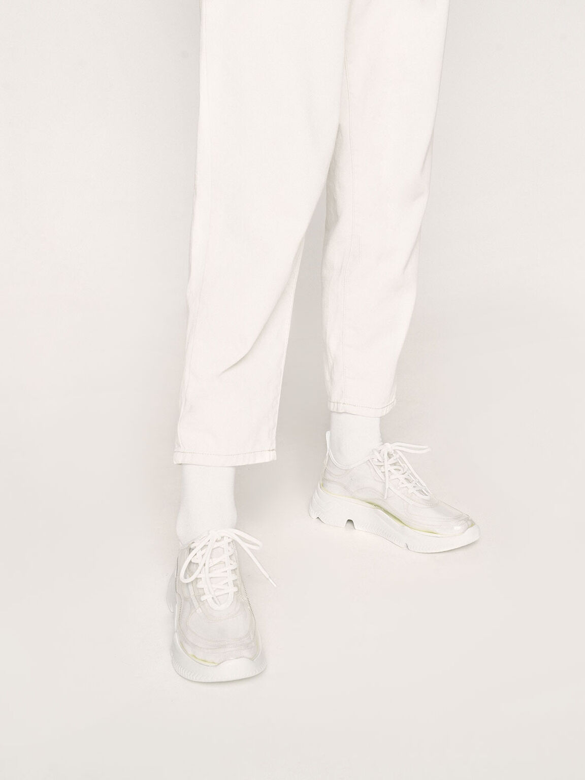 Clear Lace-Up Chunky Sneakers, White, hi-res