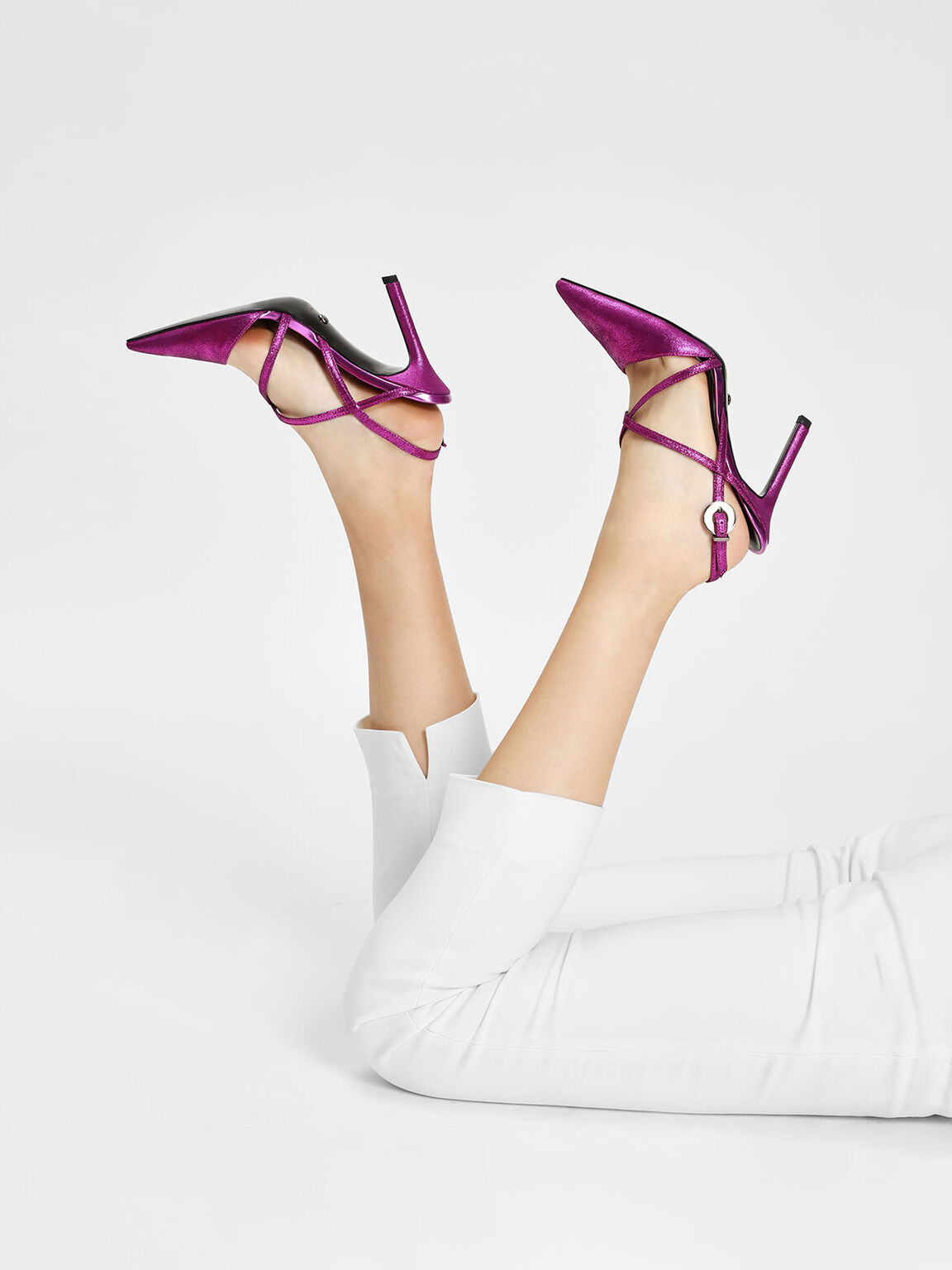 Strappy Criss Cross Leather Heels, Fuchsia, hi-res
