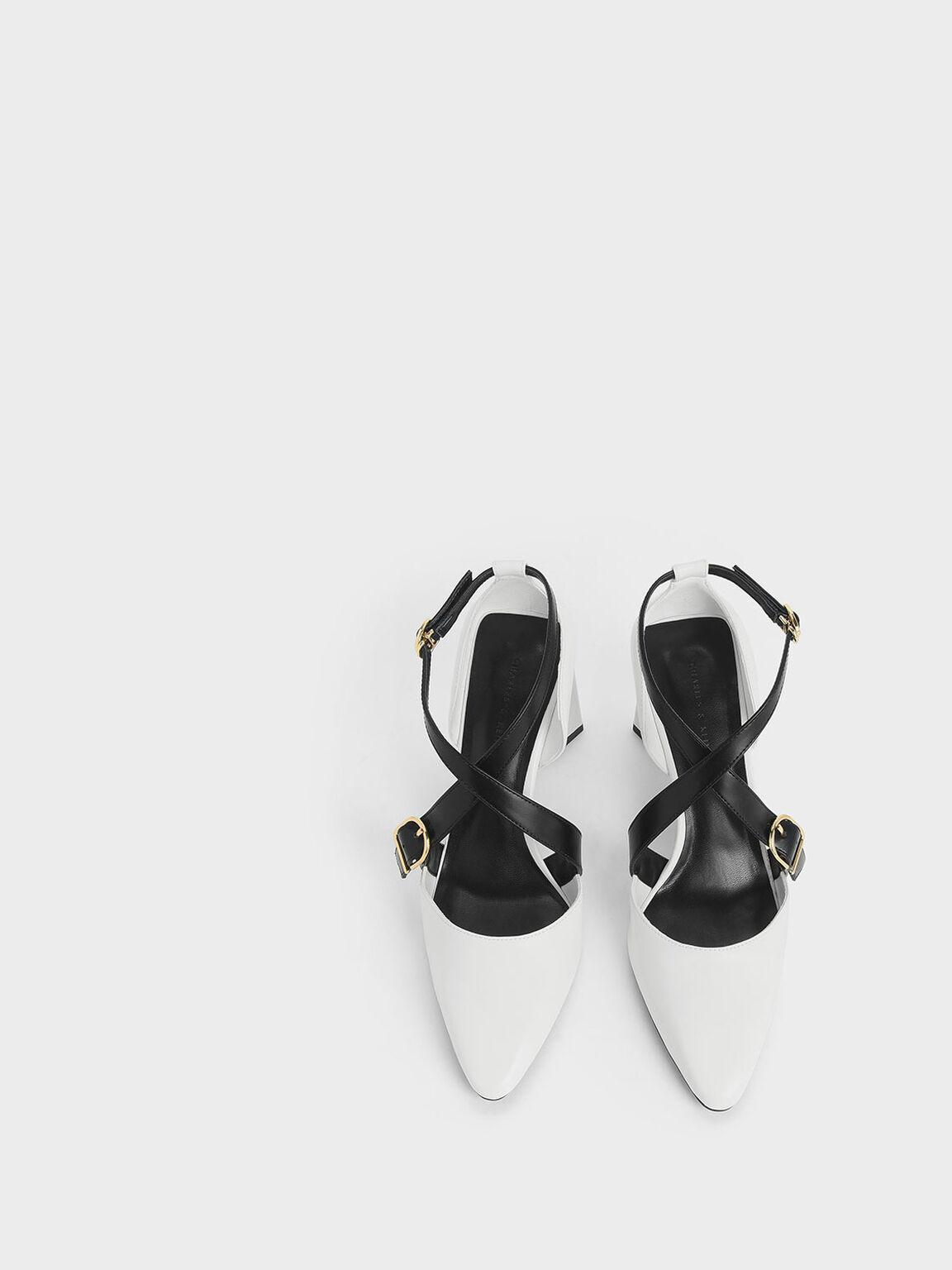 Two-Tone Buckle Detail Criss Cross Block Heel Pumps, White, hi-res