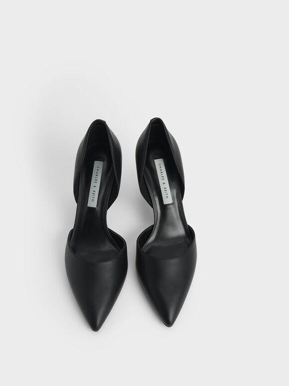 Geometric Heel D'Orsay Court Shoes, Black, hi-res