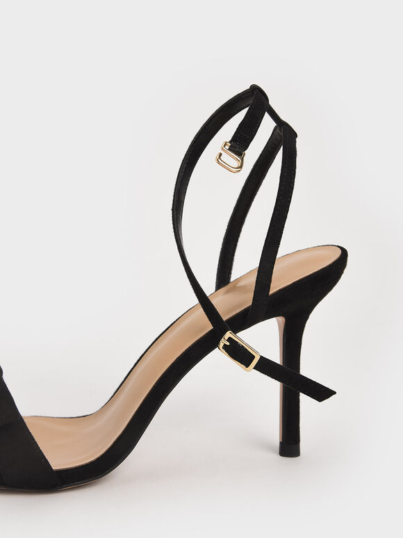 Textured Bow Ankle Strap Sandals, Black, hi-res