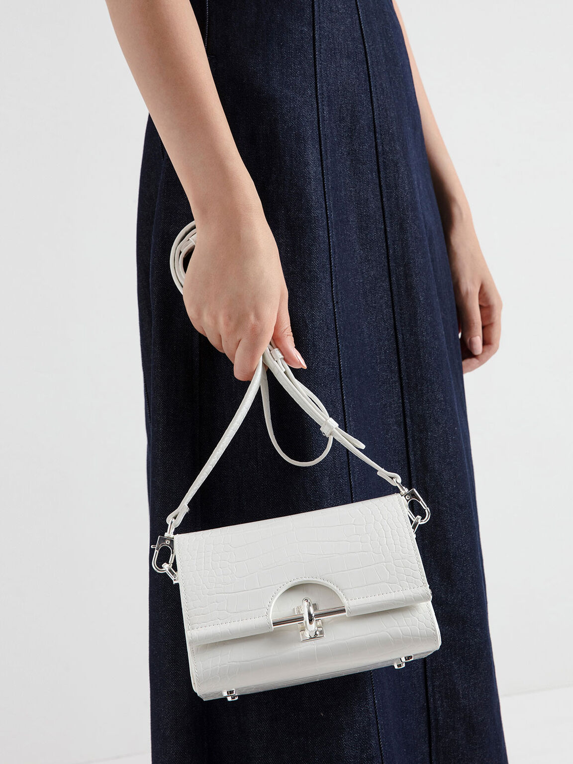 Croc-Effect Turn Lock Bag, White, hi-res