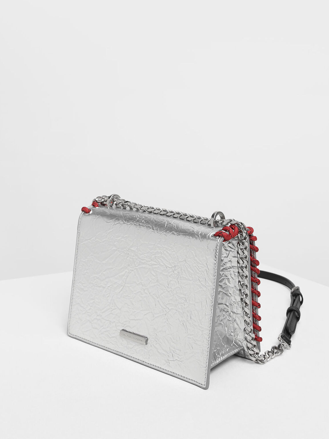 Grommet Accented Crossbody Bag, Silver, hi-res