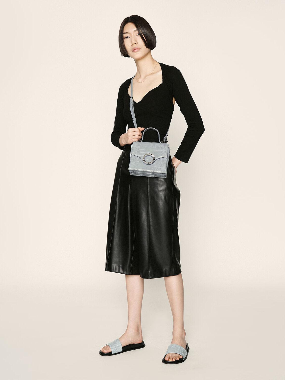 Croc-Effect Embellished-Buckle Bag, Blue, hi-res