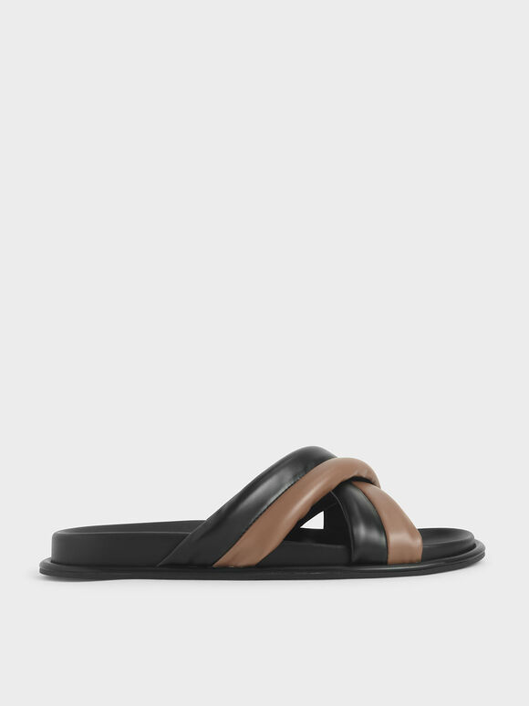 Puffy Strap Slide Sandals, Multi, hi-res