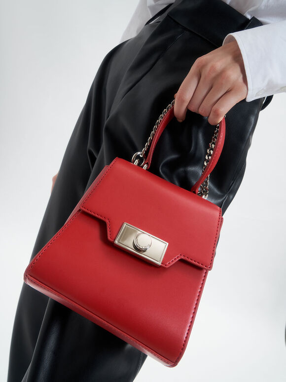 Leather Trapeze Bag, Red, hi-res