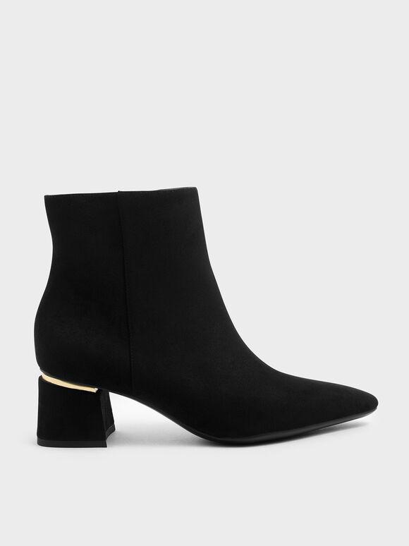 Metal Accent Block Heel Ankle Boots, Black Textured, hi-res