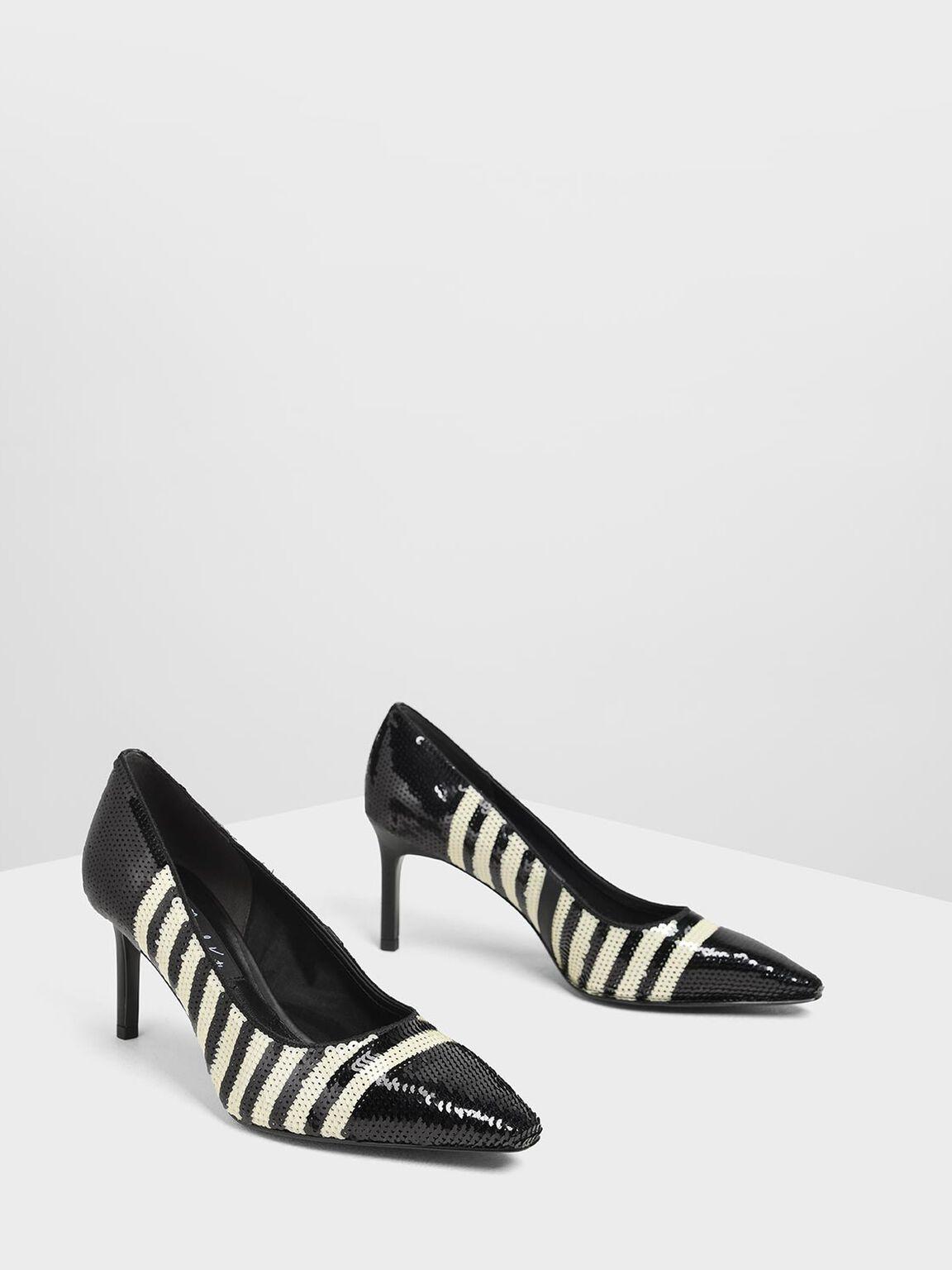 Sequin Mesh Pointed Toe Pumps, Black Textured, hi-res