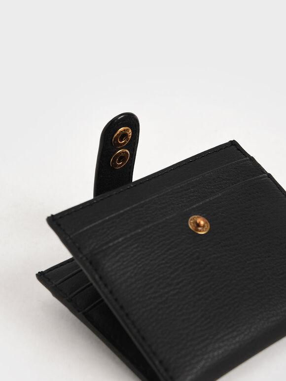 Snap Button Card Holder, Black, hi-res