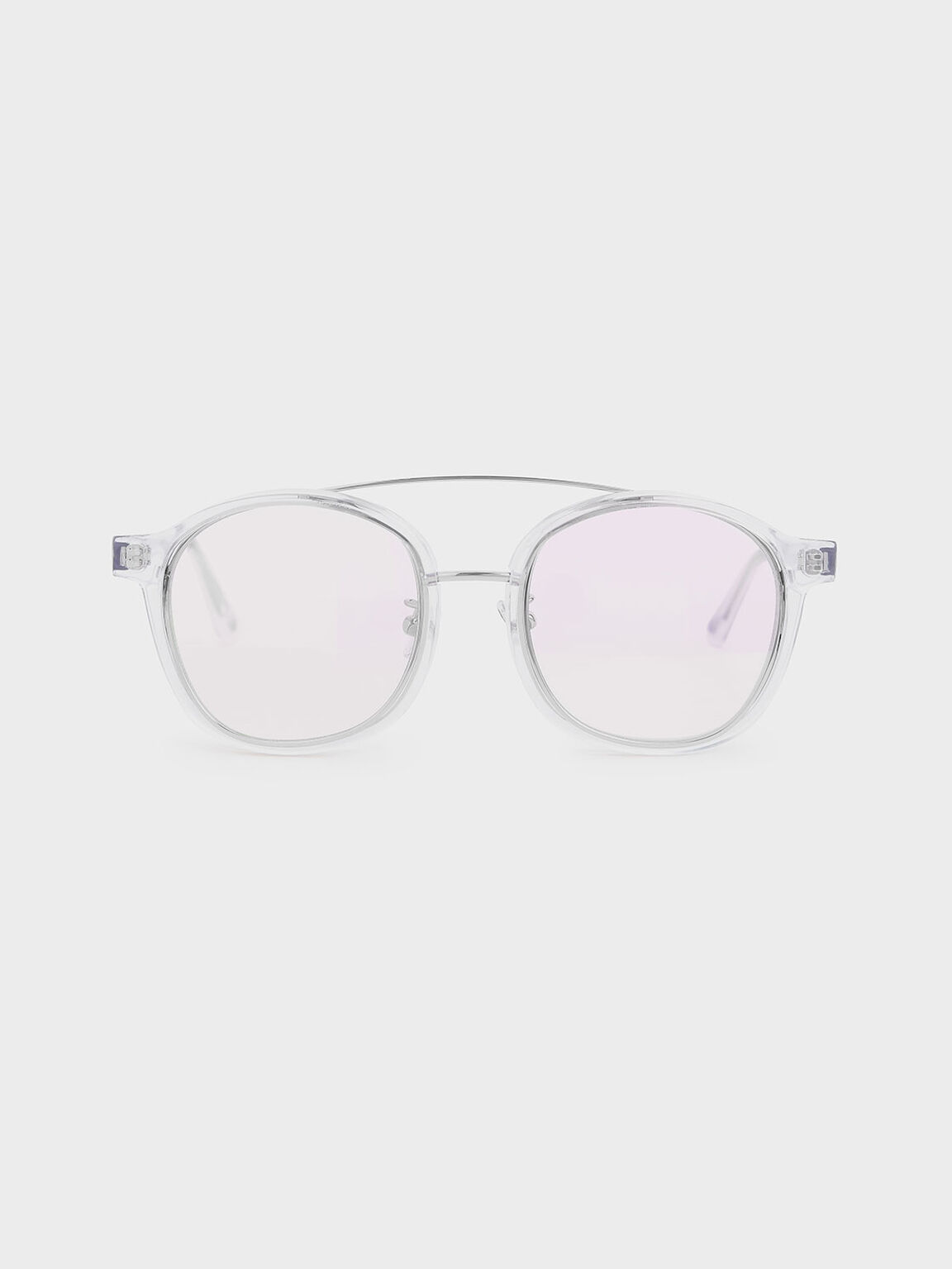 Gradient Tint Round Sunglasses, White, hi-res