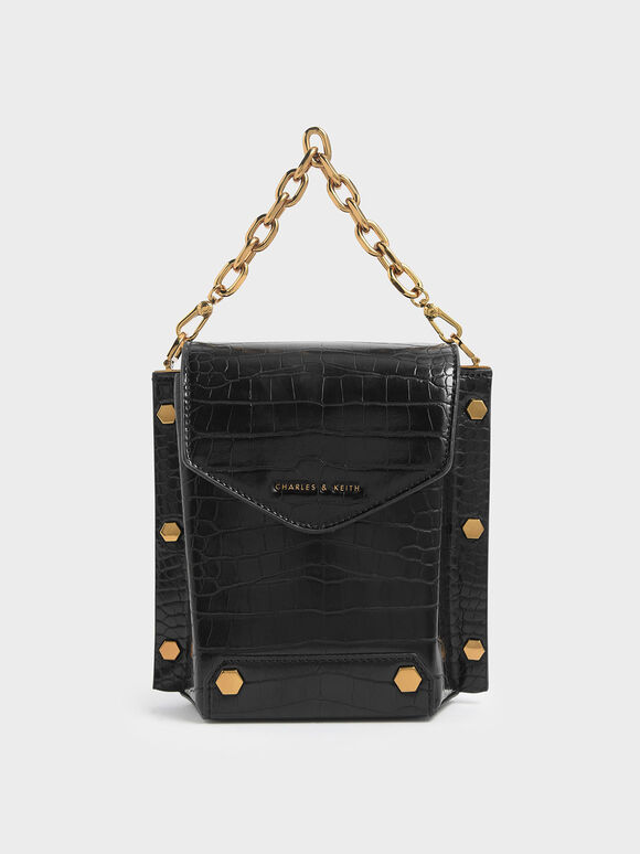 Croc-Effect Stud Detail Bag, Black, hi-res
