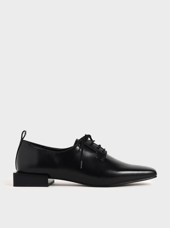 Square Toe Oxford Shoes, Black, hi-res