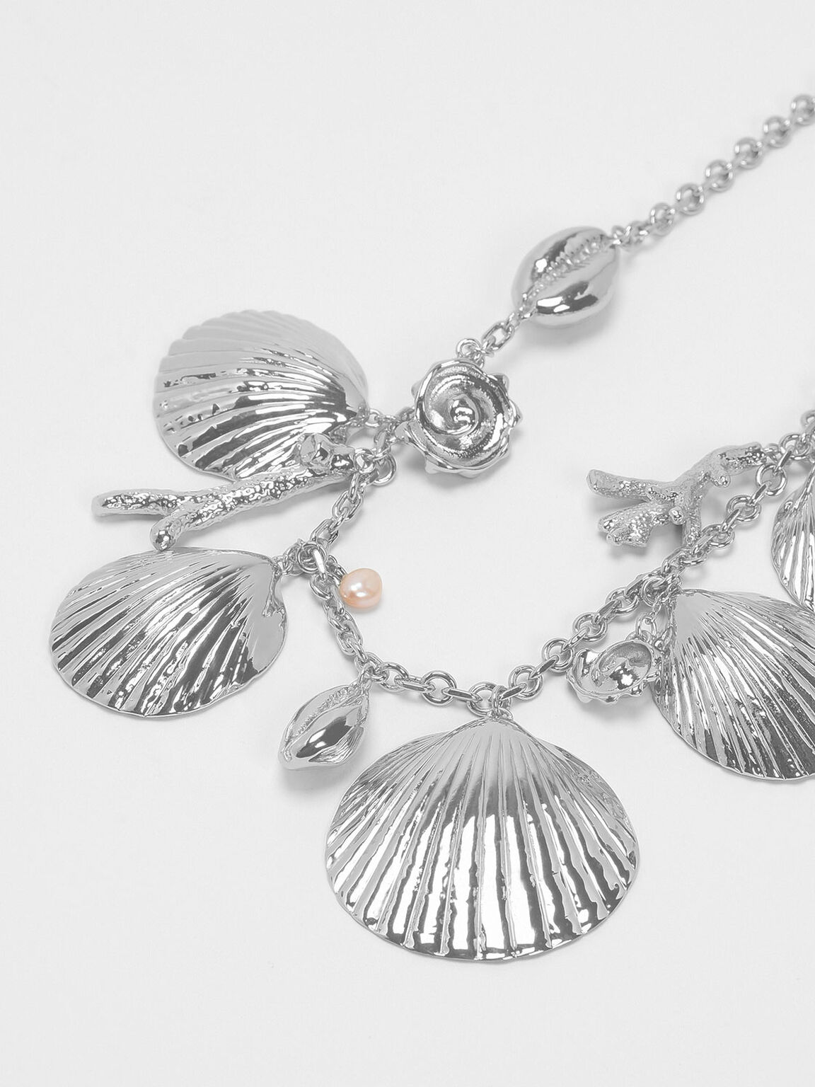 Seashell Necklace, Silver, hi-res