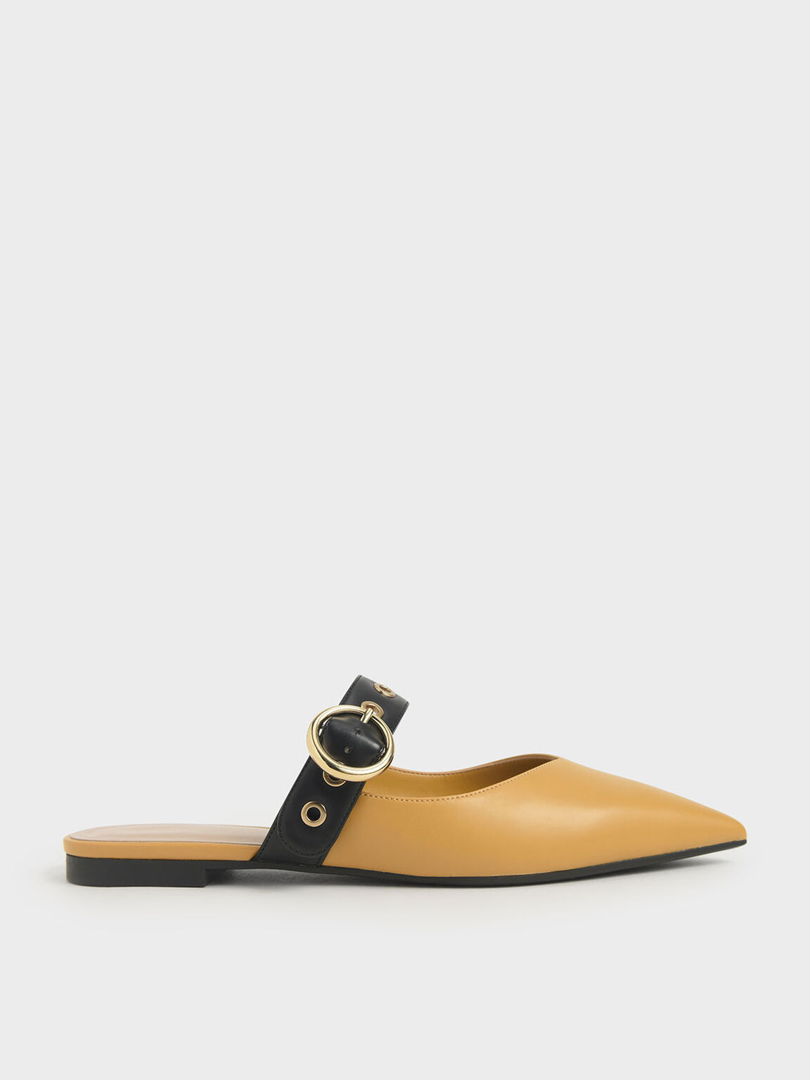 Eyelet-Embellished Mules, Yellow, hi-res