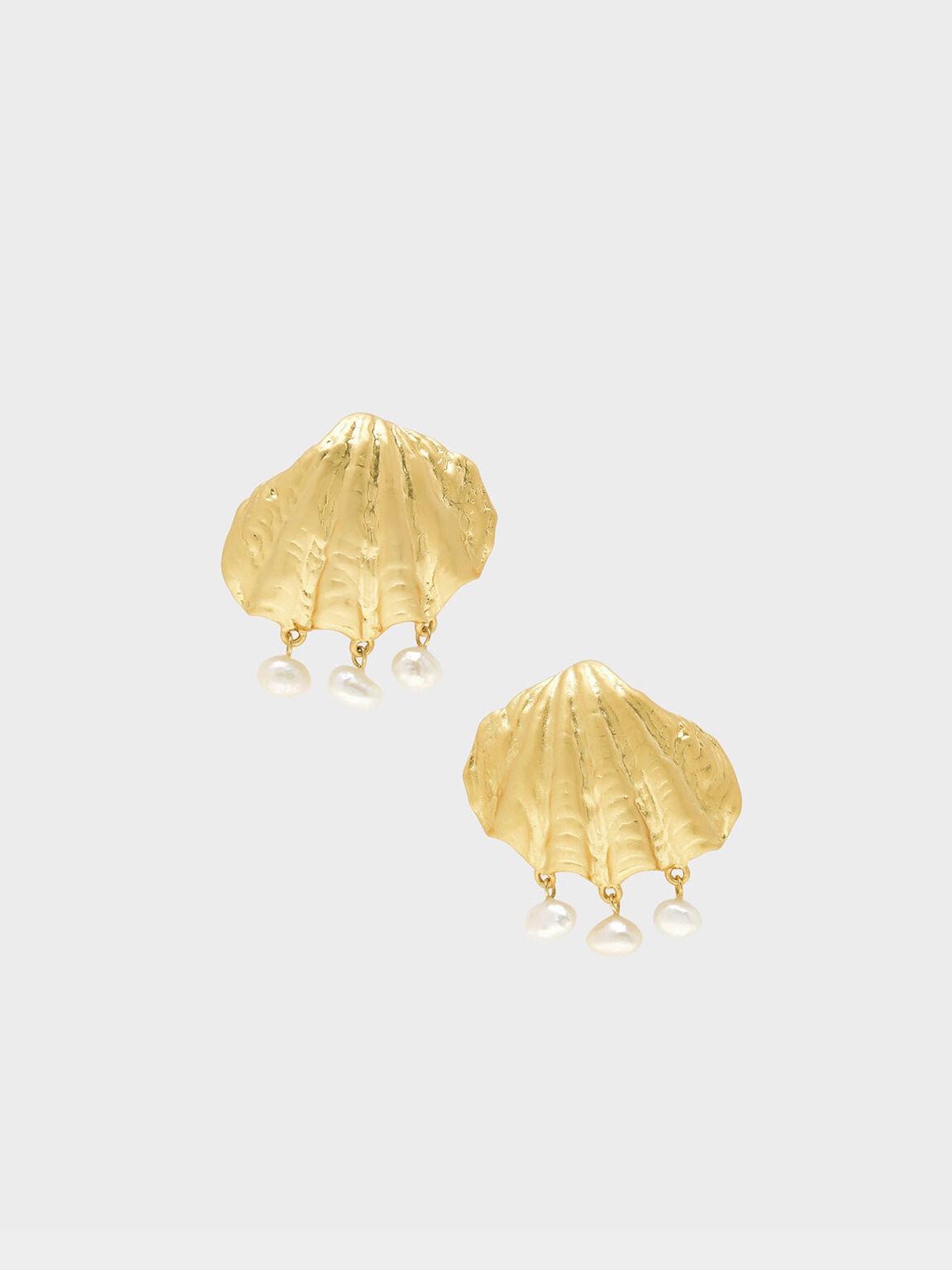 Seashell Stud Earrings, Gold, hi-res