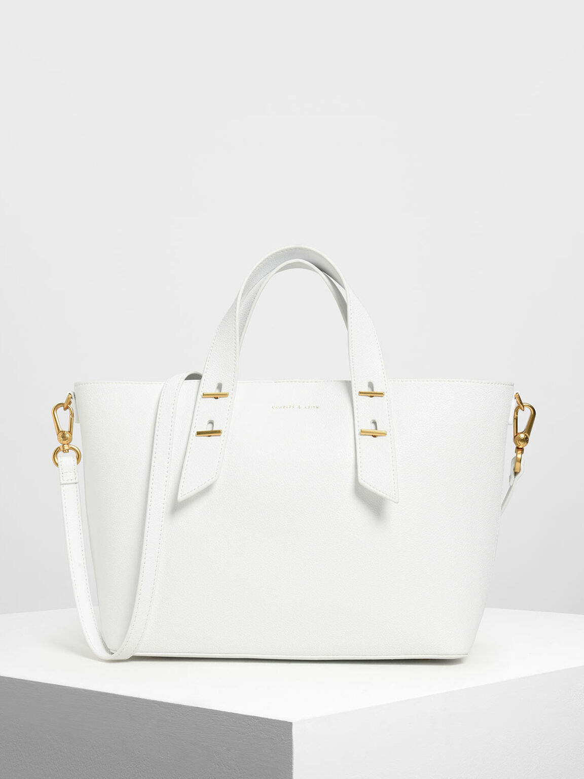 Metal Stud Detail Top Handle Bag, White, hi-res