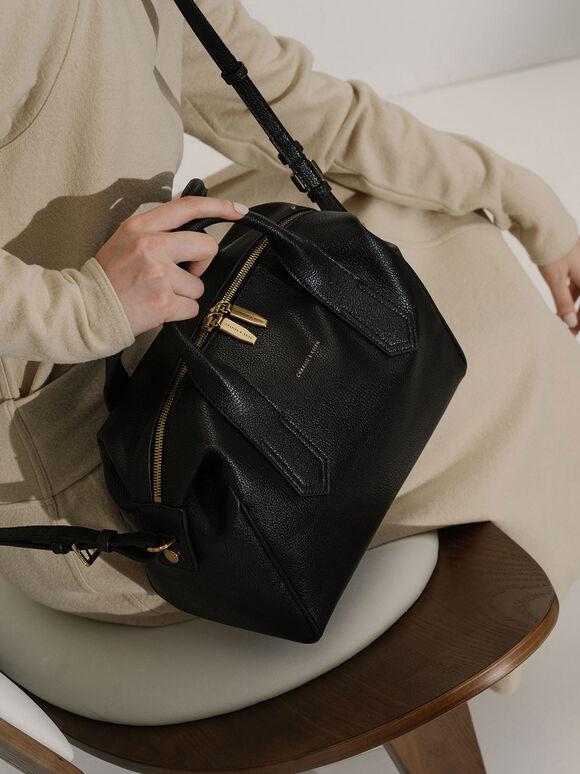 Double Handle Duffel Bag, Black, hi-res