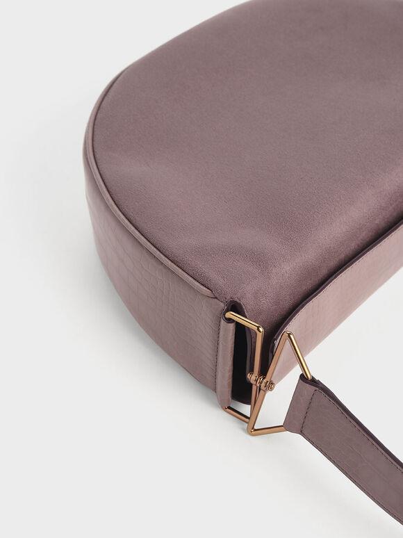 Textured Saddle Bag, Mauve, hi-res