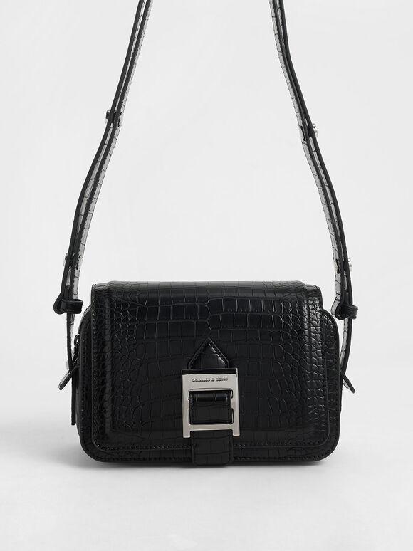 Buckle Strap Croc-Effect Shoulder Bag, Black, hi-res