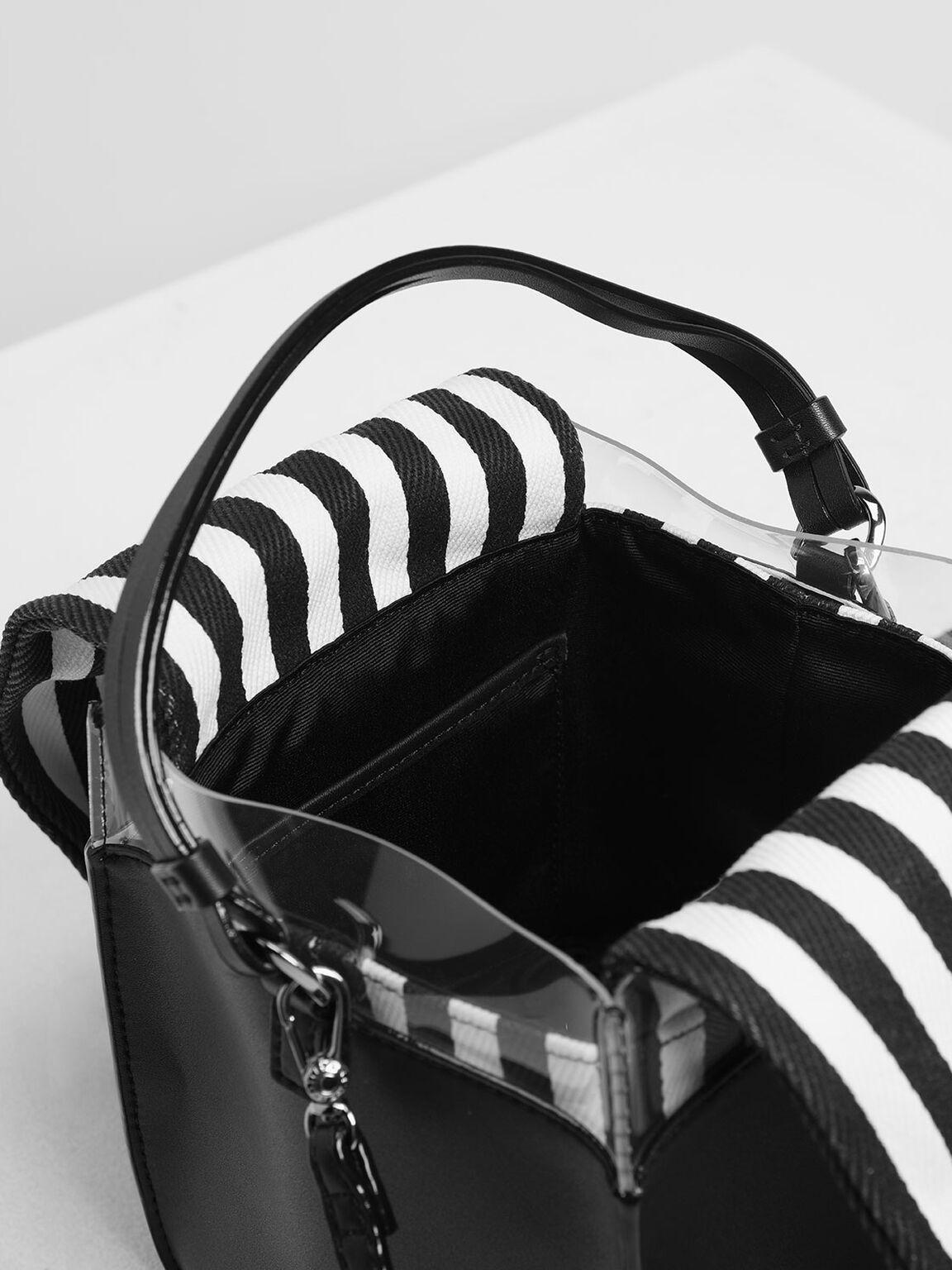 Black and White Stripe Bucket Bag, Black Textured, hi-res