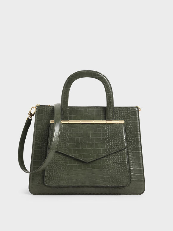 Croc-Effect Structured Tote Bag, Olive, hi-res