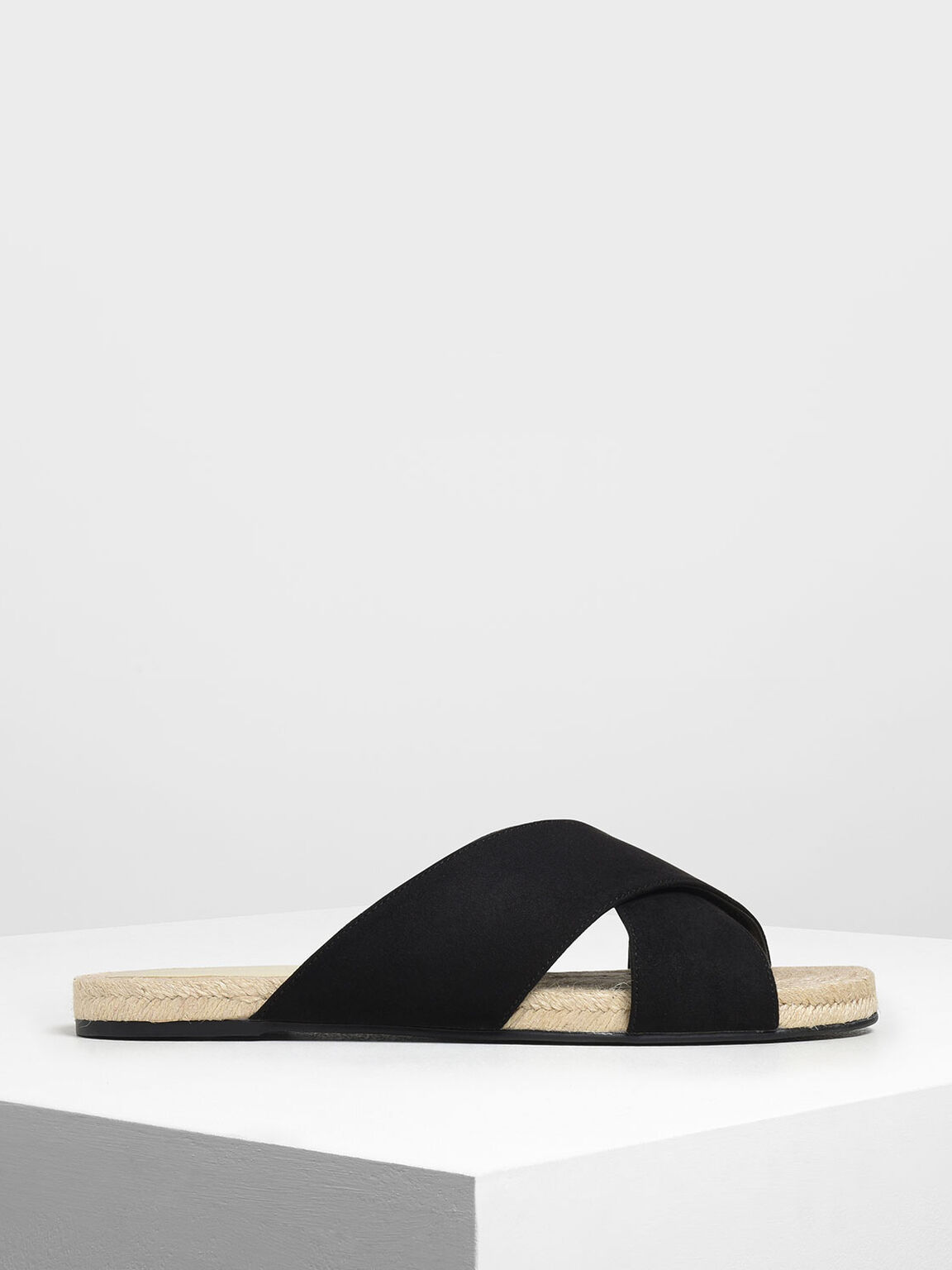 Criss Cross Slide Sandals, Black, hi-res