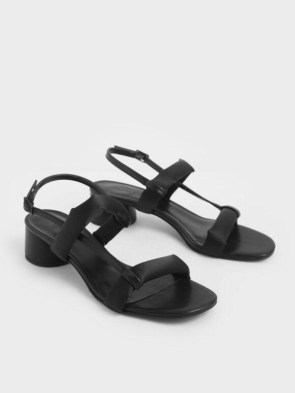 Puffy Strap Sandals, Black, hi-res